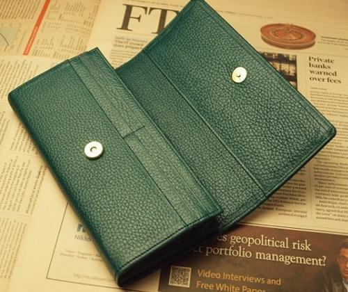 グリーン 緑 みどり 色 長財布 さいふ 開運 金色2